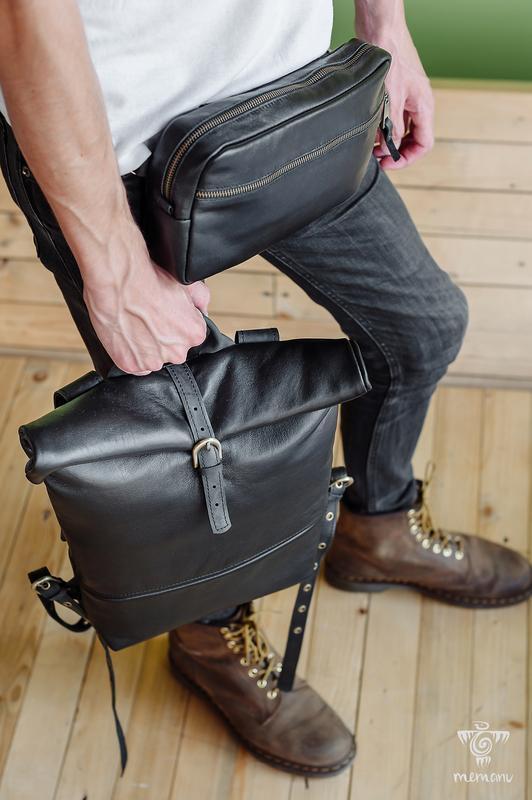 Кожаная мужская сумка на пояс, Черная сумка через плечо