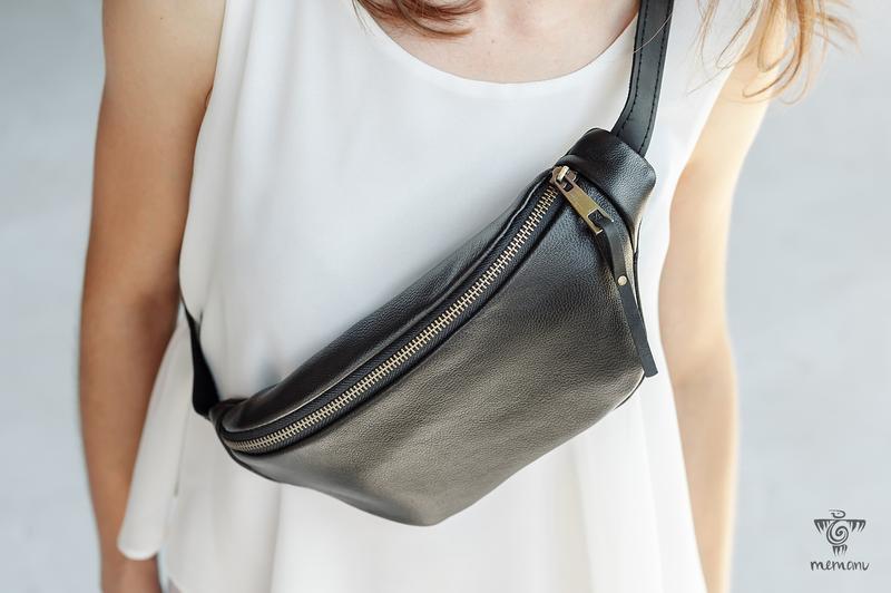 Черная кожаная сумка на пояс, Бананка унисекс, Сумка для путешествий