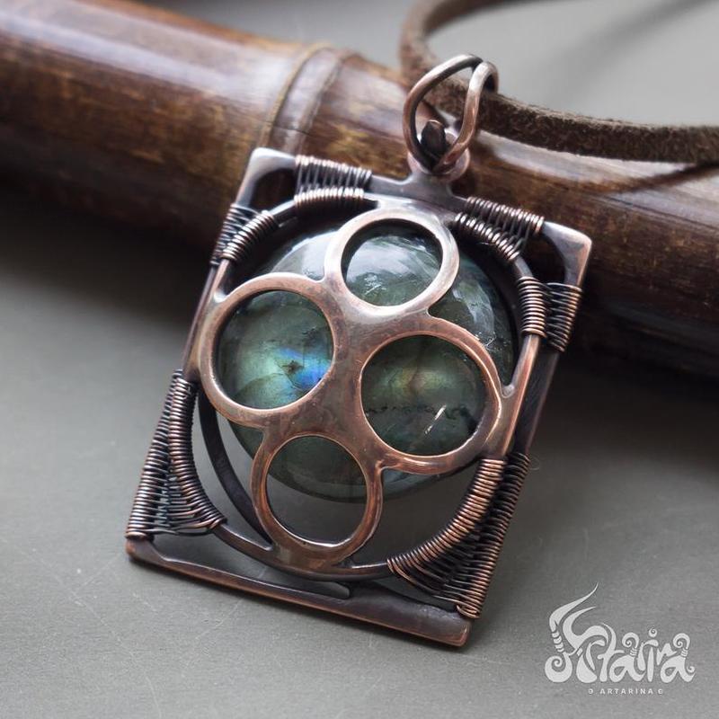 Кулон квадрат // Кулон космический // Кулон с натуральным камнем // Artarina // Wire wrap // Кулоны