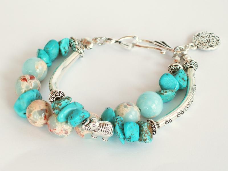 Богемный Бирюзовый браслет из двух нитей с подвеской Морская звезда и серебристыми бусинами-трубками