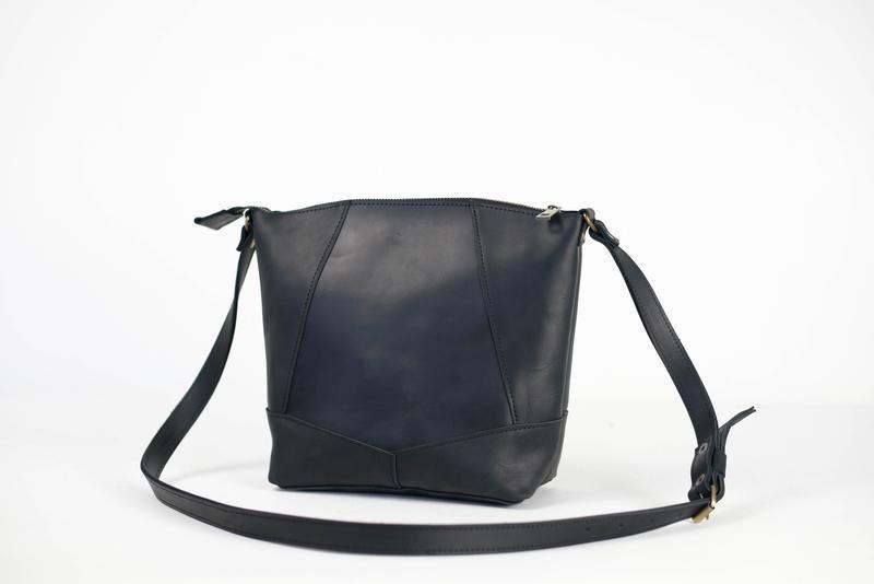 """Женская сумка шоппер """"Модель №32"""" Винтажная кожа цвет Черный"""
