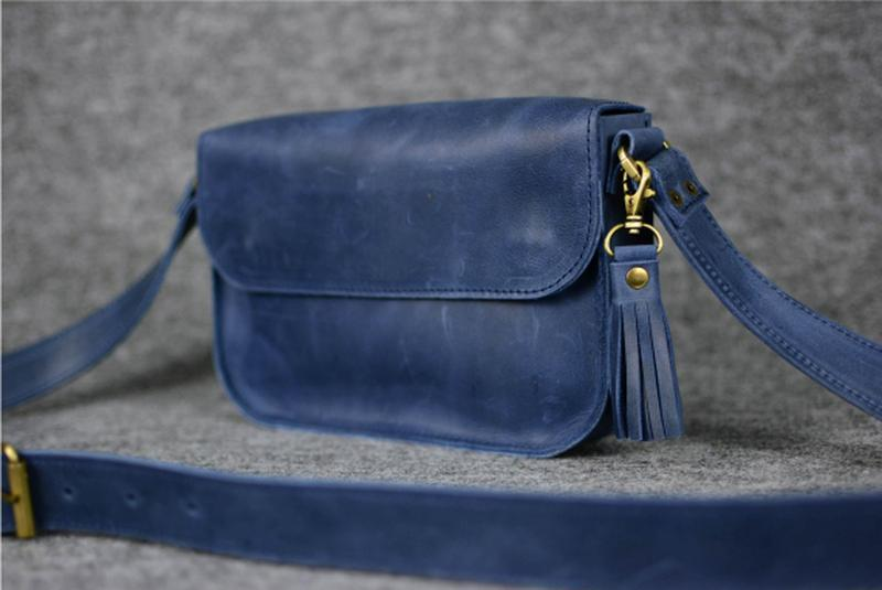 """Женская сумка """"Модель №25"""" Винтажная кожа цвет Синий"""