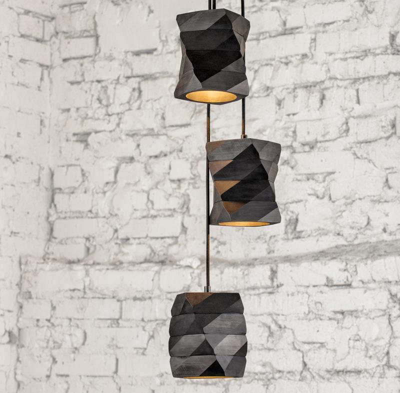 дизайнерский деревянный полигональный подвесной светильник в