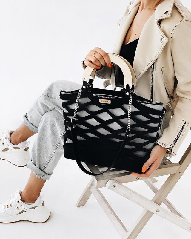 Трендовая стильная сумочка из войлока FIGLIMON Wonder| черная с серой косметичкой