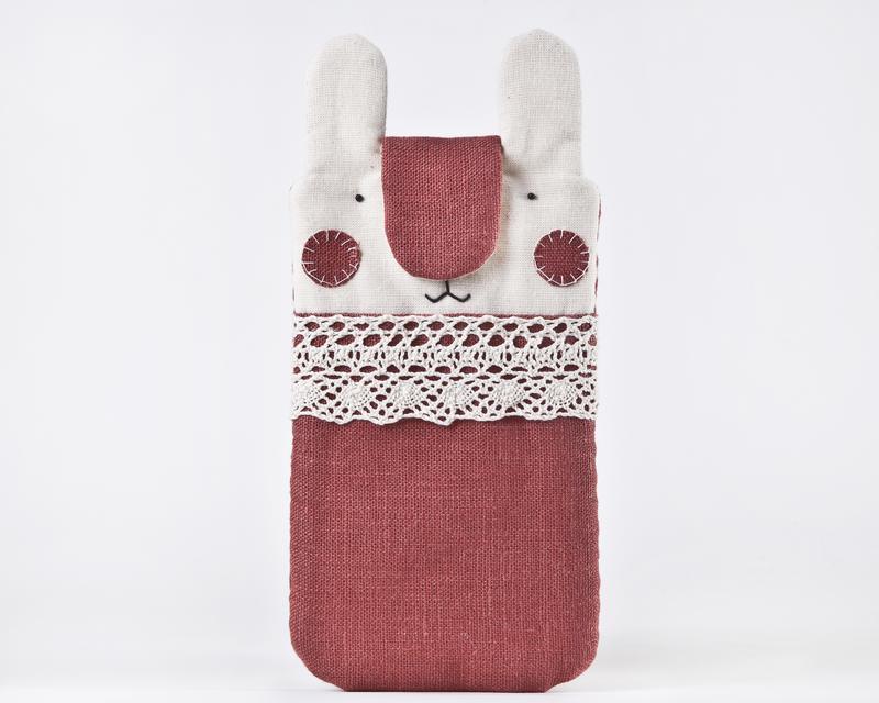 Чехол для iPhone XS Max, Чехол для телефона кролик, Тканевый чехол для телефона