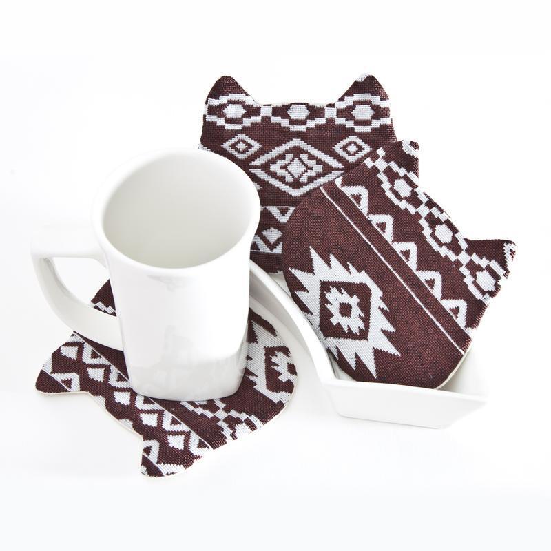 Гобеленовые подставки под чашки котики, подарок на новоселье, 4 шт. в наборе