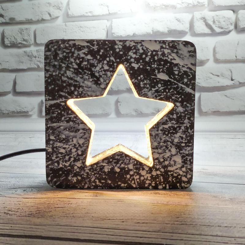 Деревянный LED светильник-ночник звездочка с плавной регулировкой яркости