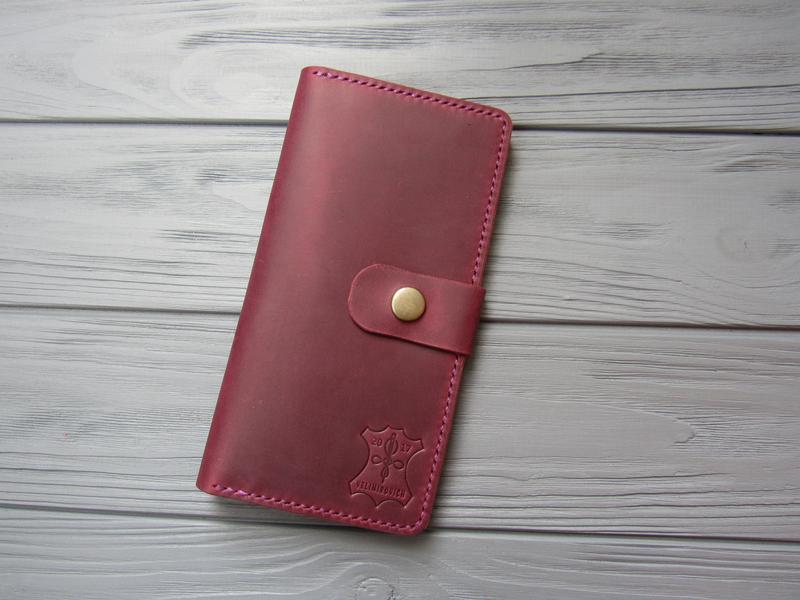 Набор кошелек и ключница из натуральной кожи_подарок жене, подарок женщине_марсала