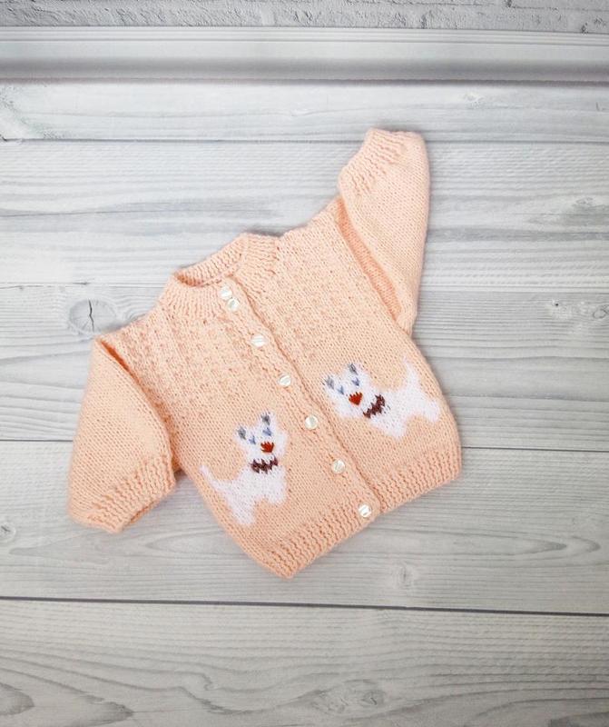 """Вязанная кофта для малыша """"Собачки"""""""