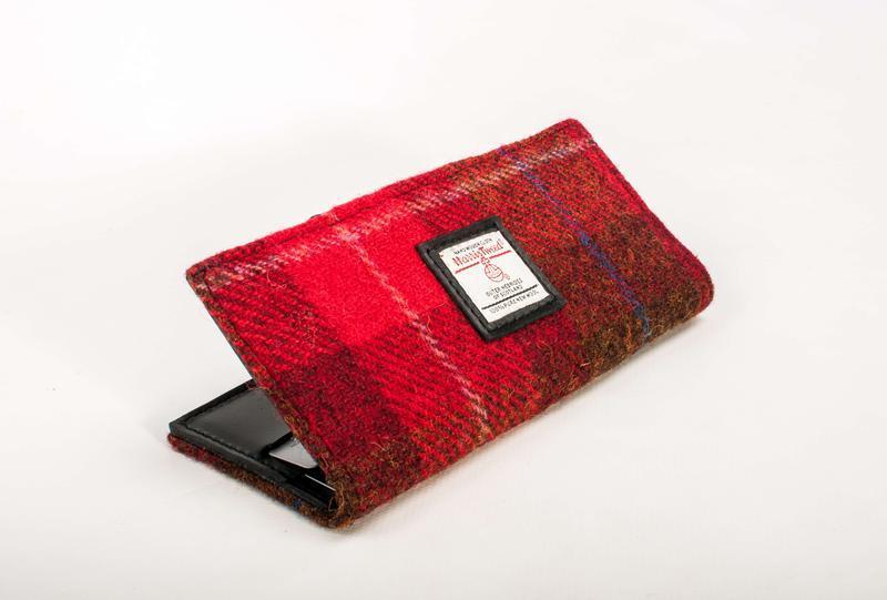 Harris Tweed кошелек Leattweed Grace red tartan