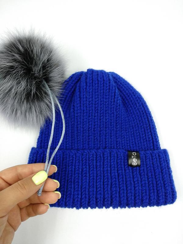 Яркая стильная теплая детская шапка