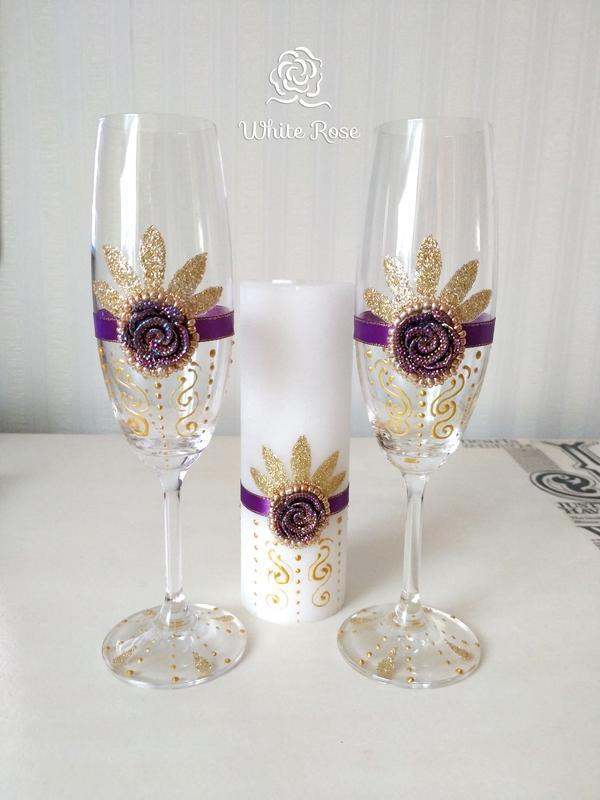 Свадебные бокалы / свечи венчальные / свадебный набор / весільний набор бокали + свічі