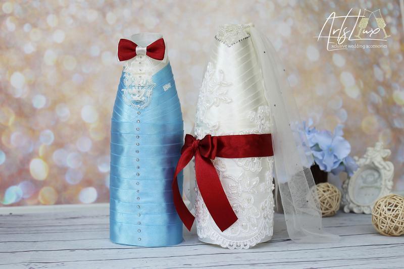 Украшения для свадебного шампанского Жених-Невеста айвори+голубой+марсала со стразами и кружевом