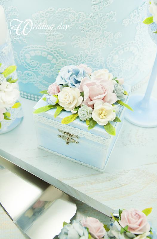 Свадебный набор голубой / Пудровий набір для весілля /Розово-голубая свадьба / Аксесуари для весілля