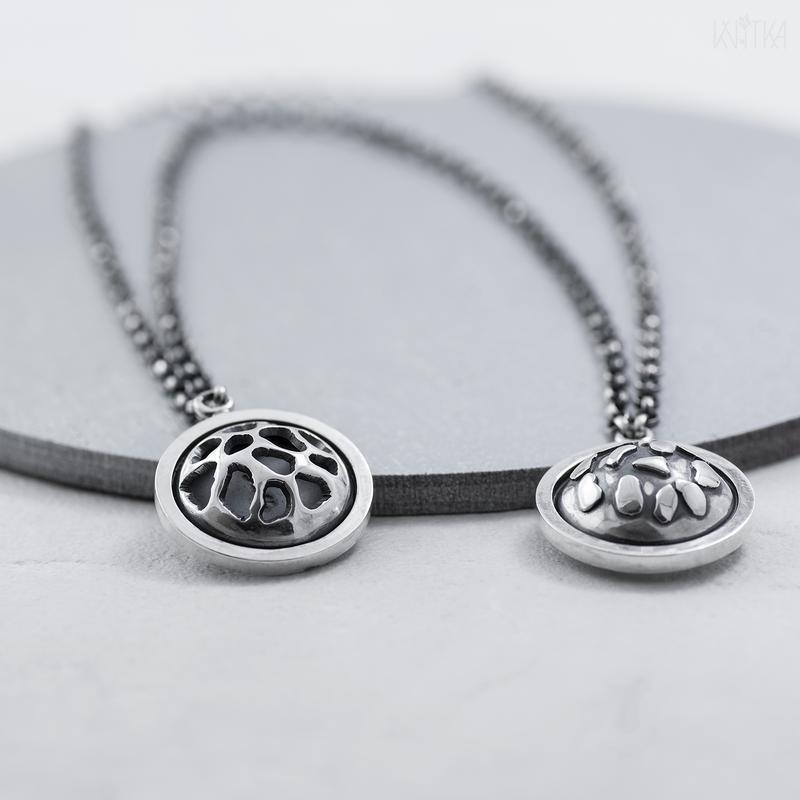 Серебряная двойная брошь (брошь шатлен)