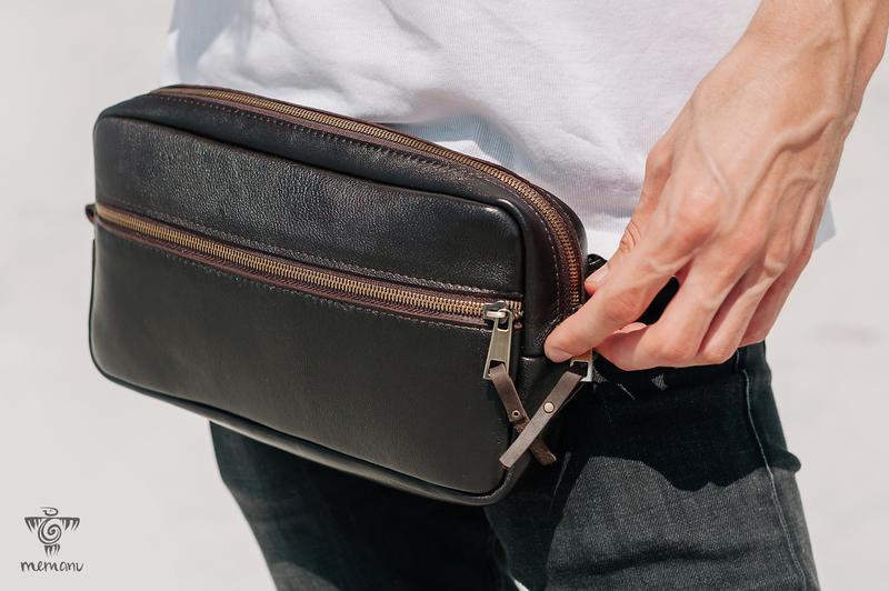 Коричневая кожаная сумка, Бананка через плечо, Поясная сумка