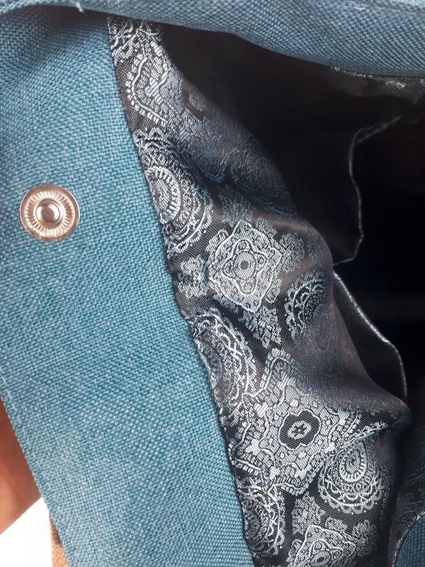 """Текстильная сумка с подкладом цвета морской волны для покупок """"Душа танцует"""""""