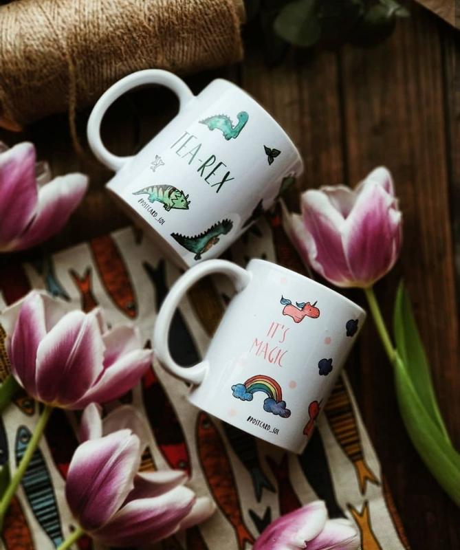 """керамическая чашка с авторским дизайном """"динозавры"""""""