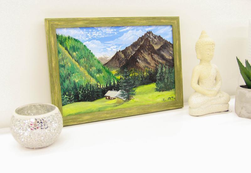 Картина маслом домик в Альпах, Горный пейзаж, Красивая природа картина, Интерьерная картина