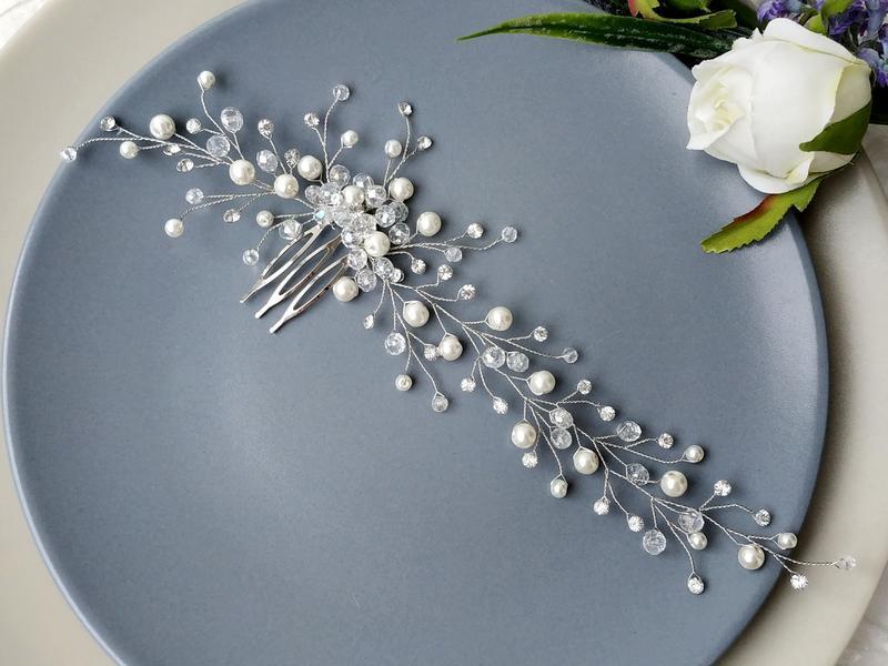 Свадебное украшение в прическу. Веточка для волос