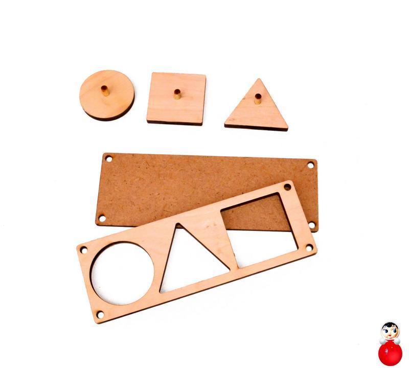 Заготовка рамка вкладыш 3 геометрические фигуры для бизиборда дерев'яні вкладиши для бізіборда