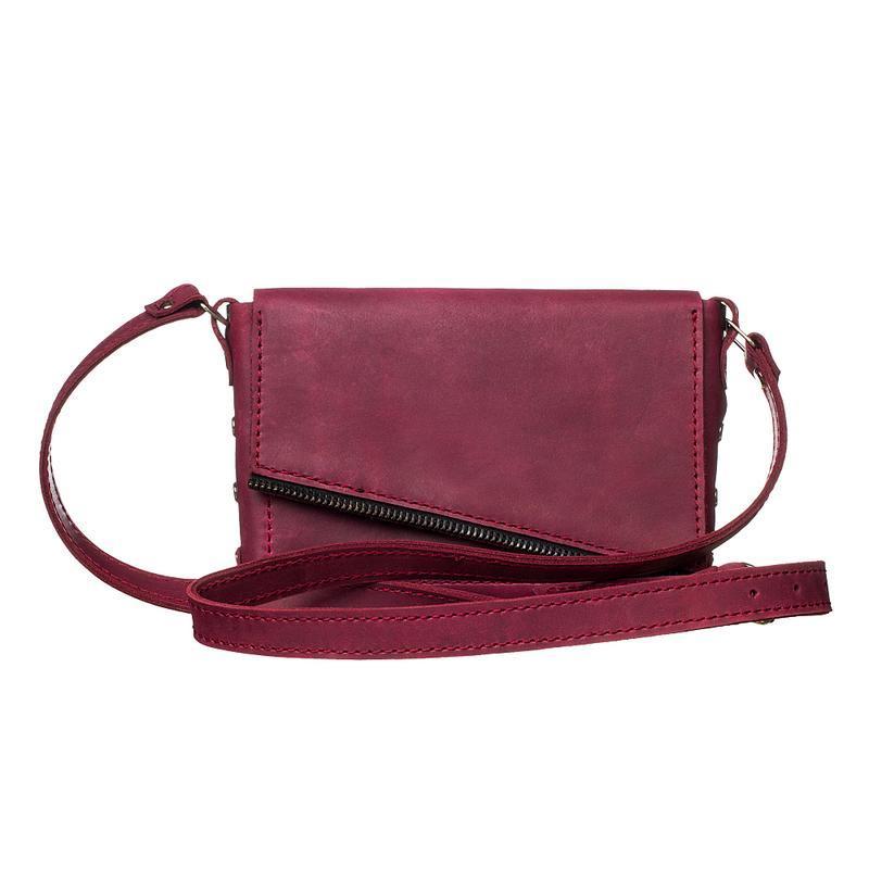 0e7730580f4d Женская кожаная сумка-клатч цвета марсала (бордо) ручной работы ...