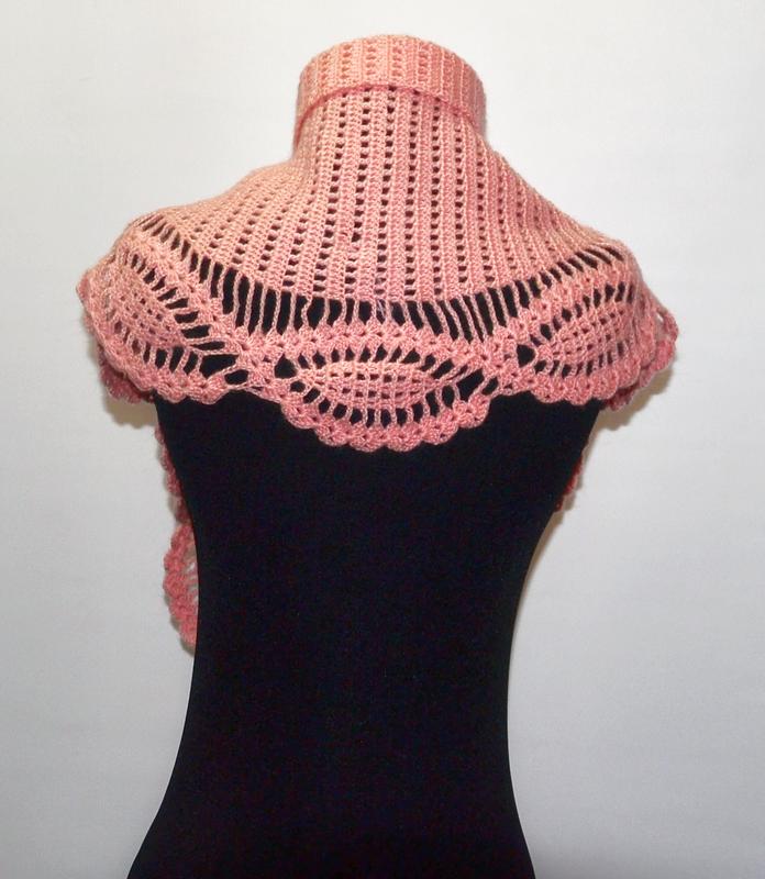 Женский ажурный розовый шарф. Вязаный шарф под пальто. Подарунок дівчині.
