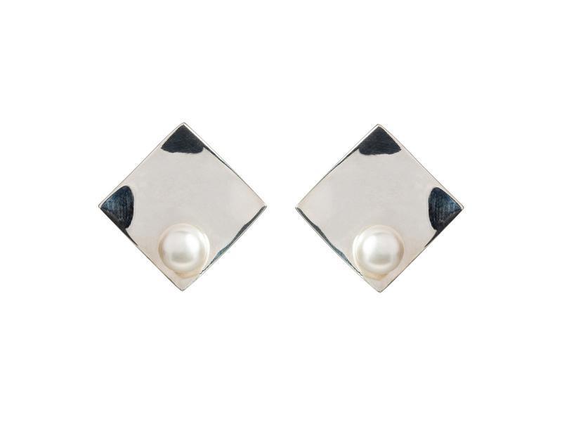 Срібні сережки з річковим перлами