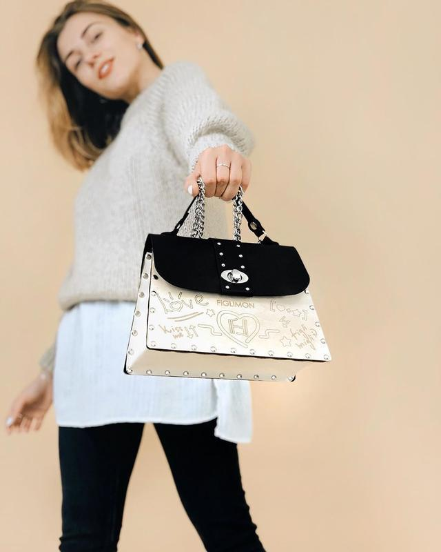 Зимняя новинка! Женская стильная сумка Figlimon SKETCH  черная