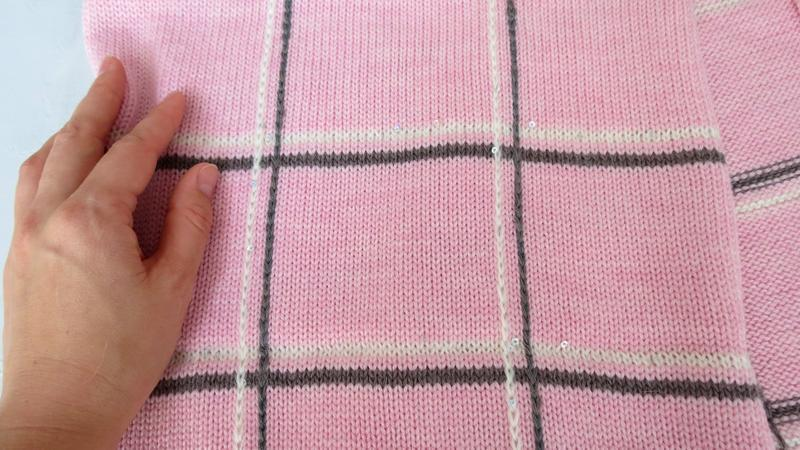 Розовый вязаный шарф в клетку, Женский шарф на осень зиму, Подарок для девушки женщины