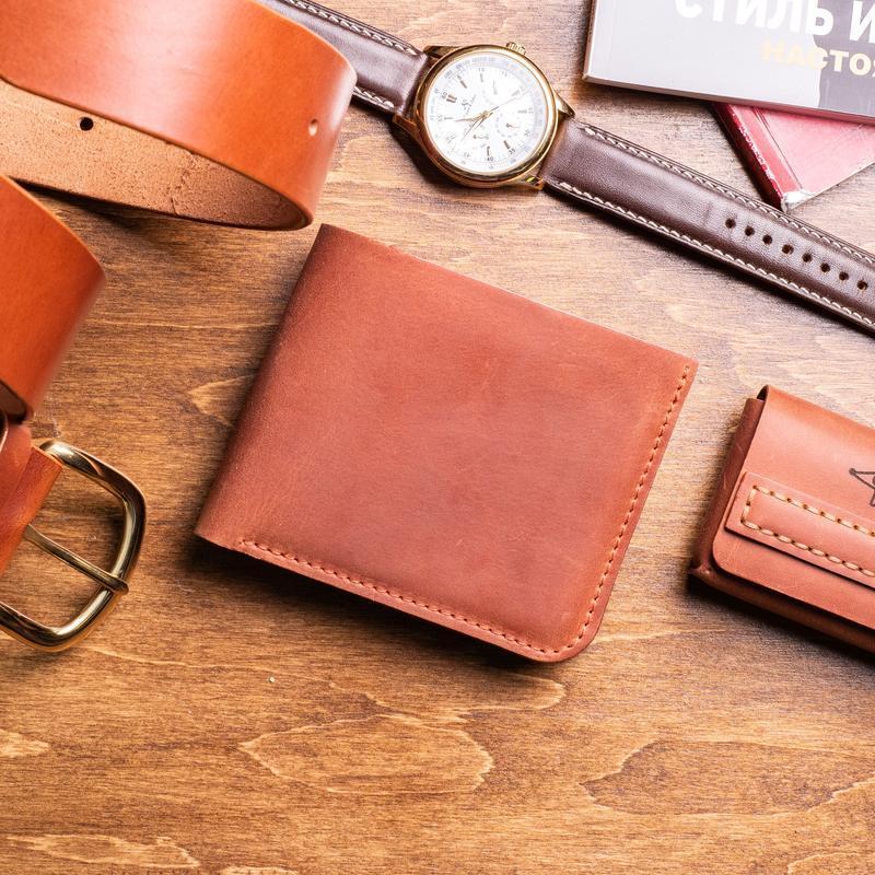 Мужской кожаный кошелек Ник из натуральной кожи в оранжевом цвете, 10 цветов на выбор 0038
