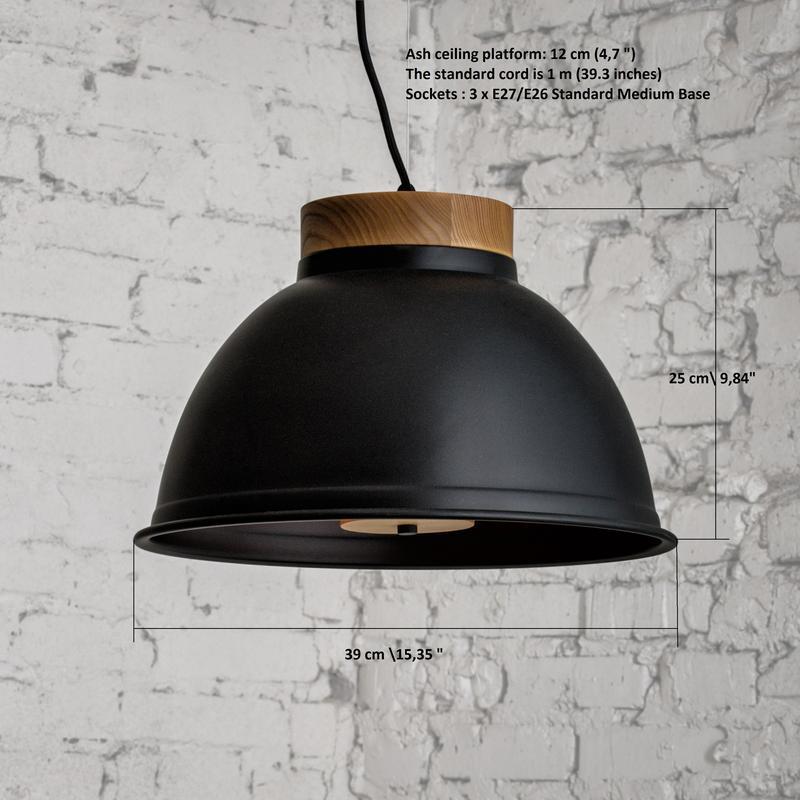 Светильник подвесной D390 в стиле лофт металл и ясень