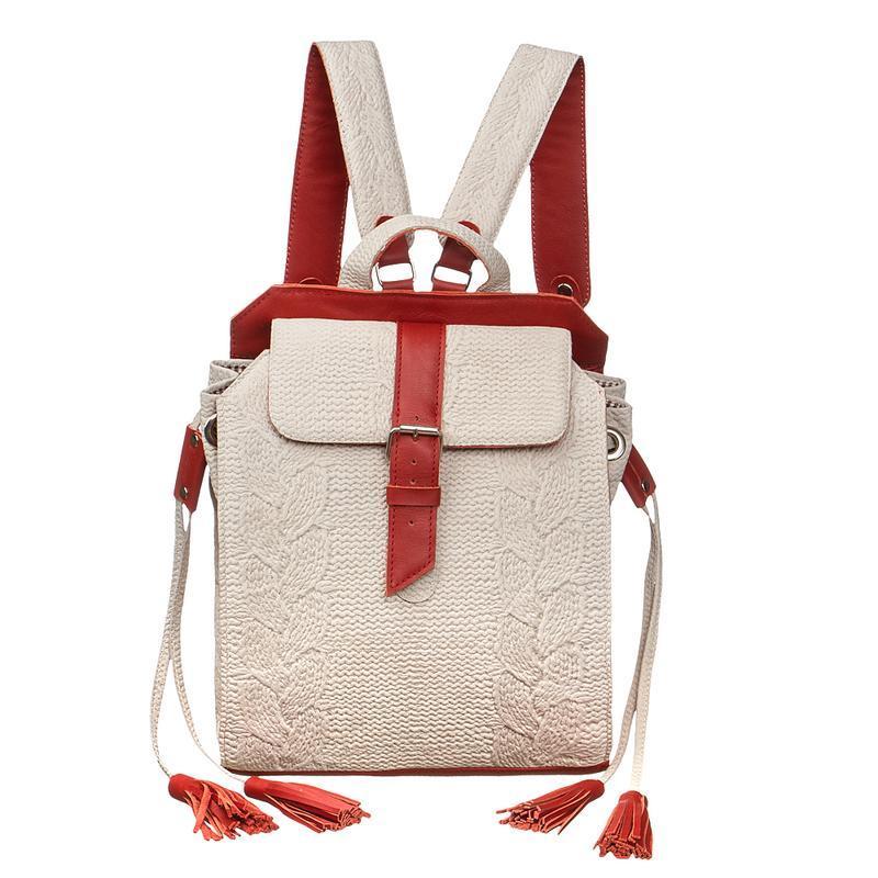 61bffbb0a4ac2 Женский кожаный белый вязаный рюкзак ручной работы купить в Украине ...
