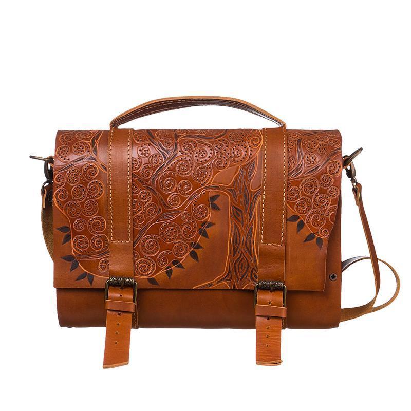 270f9765423e Женская коричневая кожаная сумка с тиснением и резьбой на коже ...
