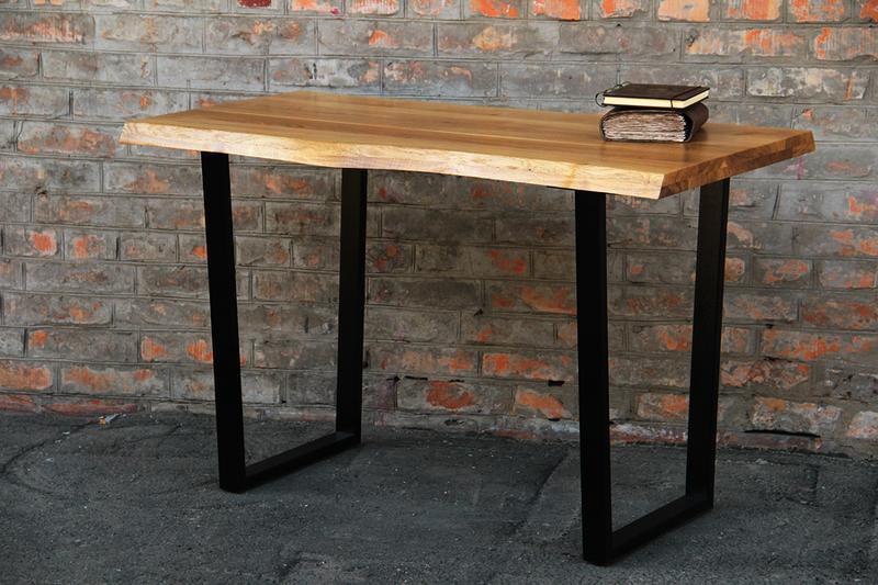 Офисный лакированный журнальный деревянный обеденный стол, Столик под заказ из древесины и металла