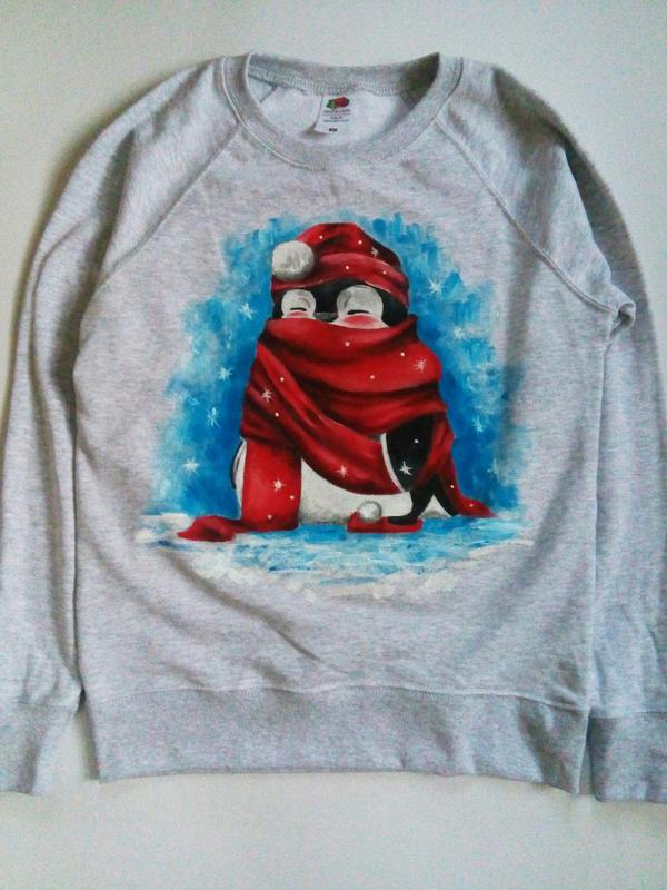 Теплий світшот з малюнком 'Пінгвін в шарфі'