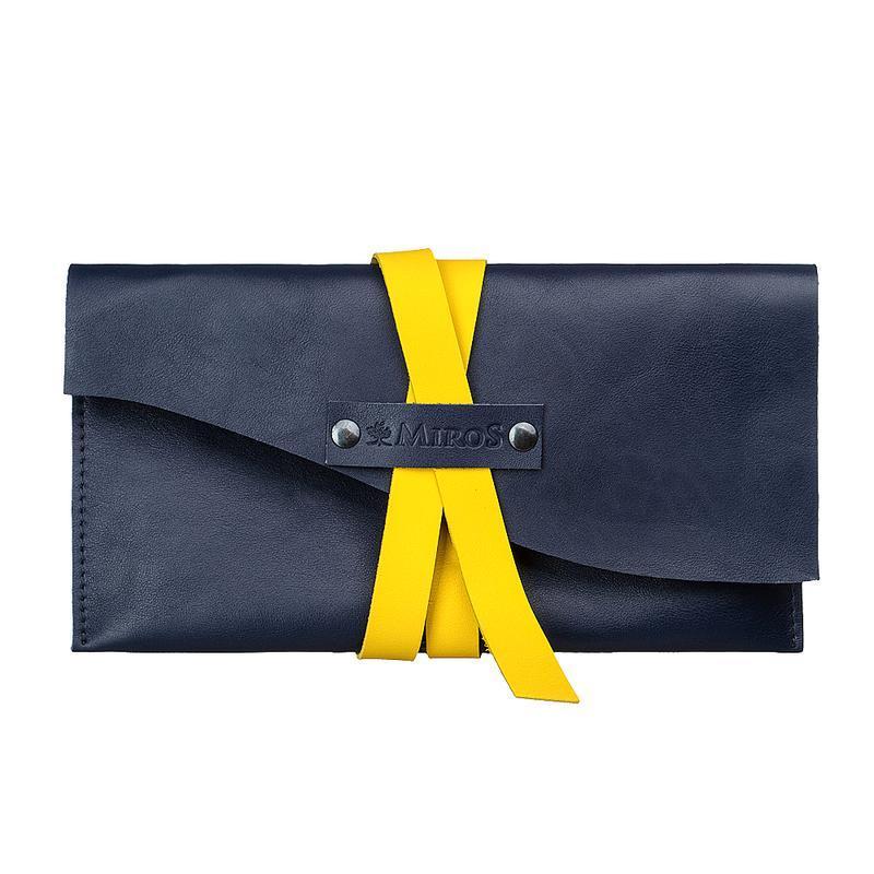 Жіночий синій шкіряний сумка клатч