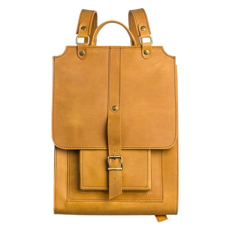Великий жовтий шкіряний рюкзак