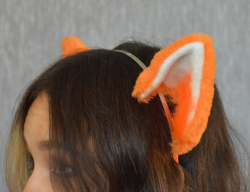 Меховые ушки лисы, ушки на обруче.