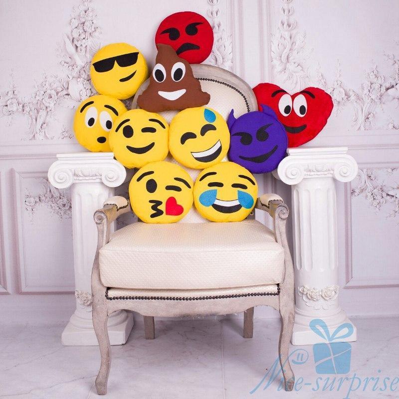 Подушки-смайлики Emoji колекція з 10 штук