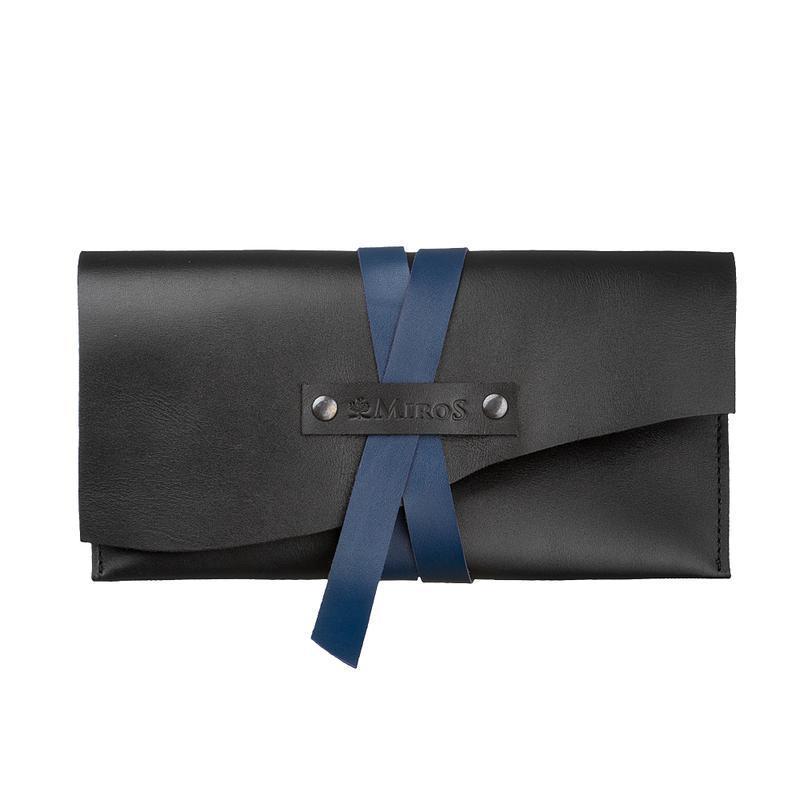 Жіночий шкіряний чорний клатч сумка