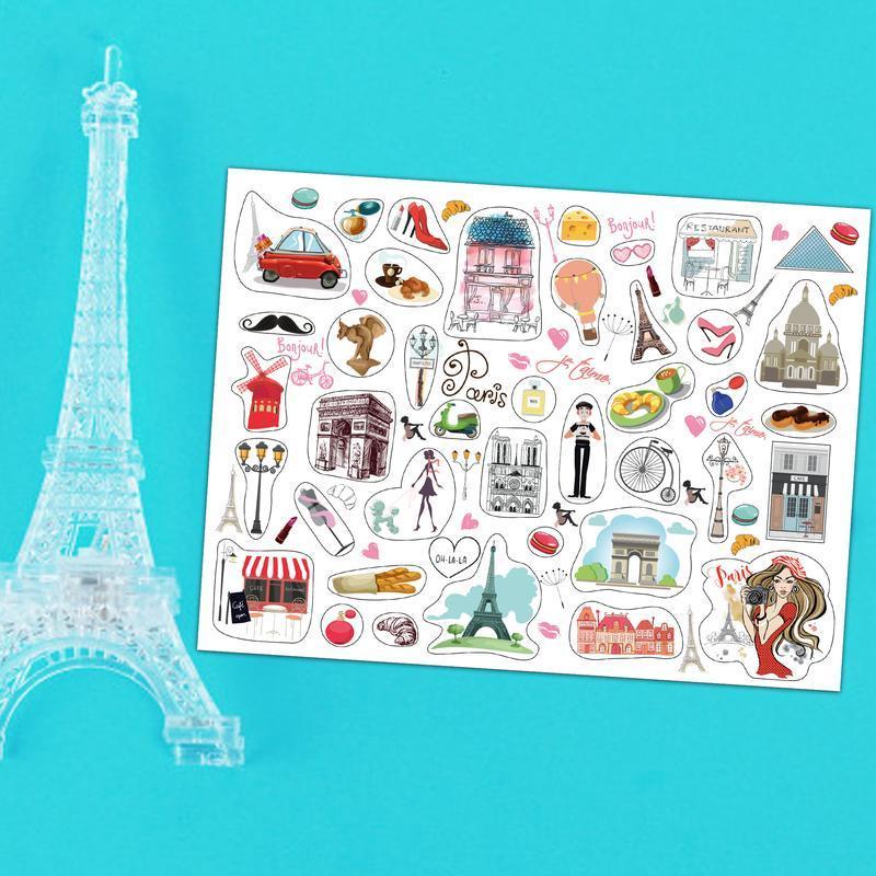 """Большой лист наклеек """"Уикенд в Париже"""".20х15 см."""