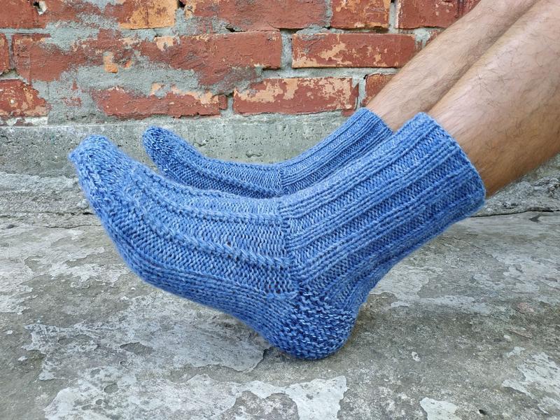 Мужские вязаные теплые шерстяные носки синие