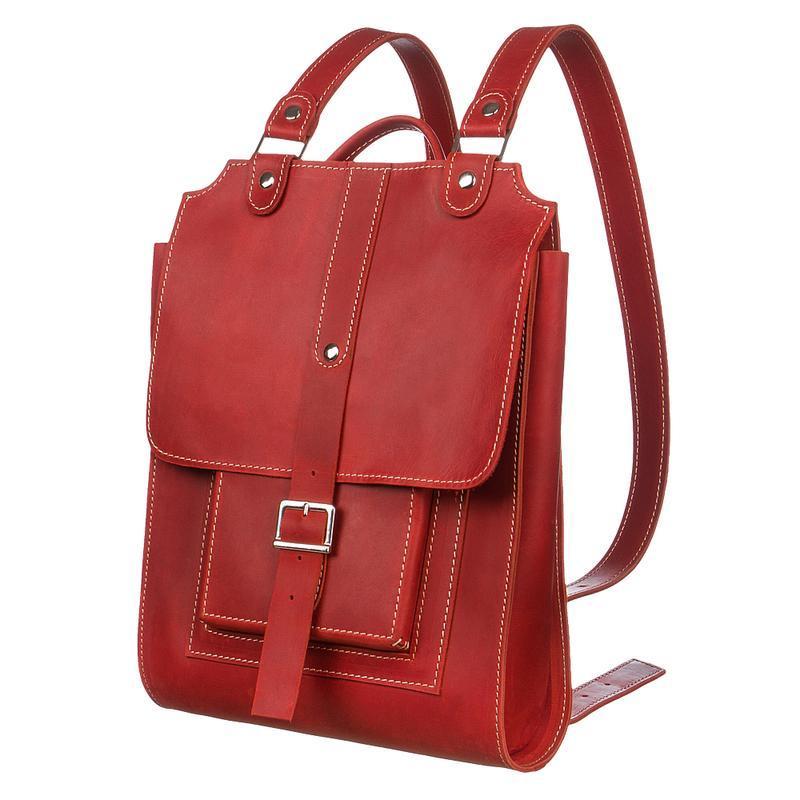 Великий червоний шкіряний жіночий рюкзак