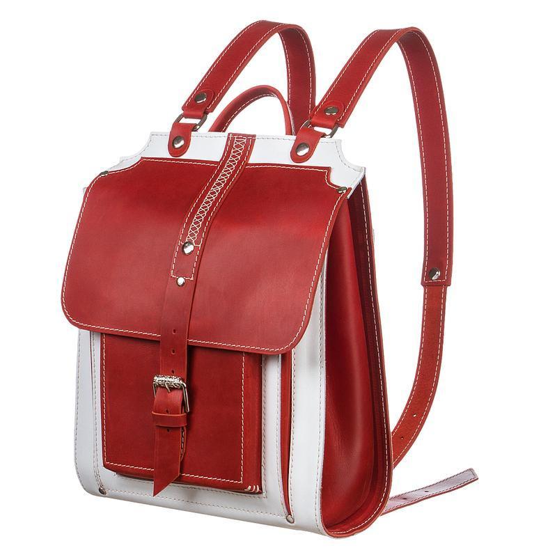 Жіночий шкіряний червоний білий рюкзак
