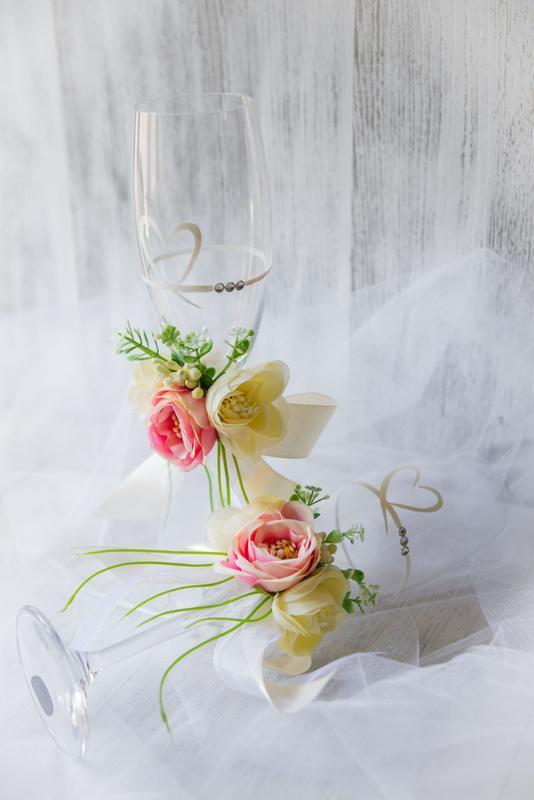 Свадебные бокалы из богемского стекла ′Roses Coral′