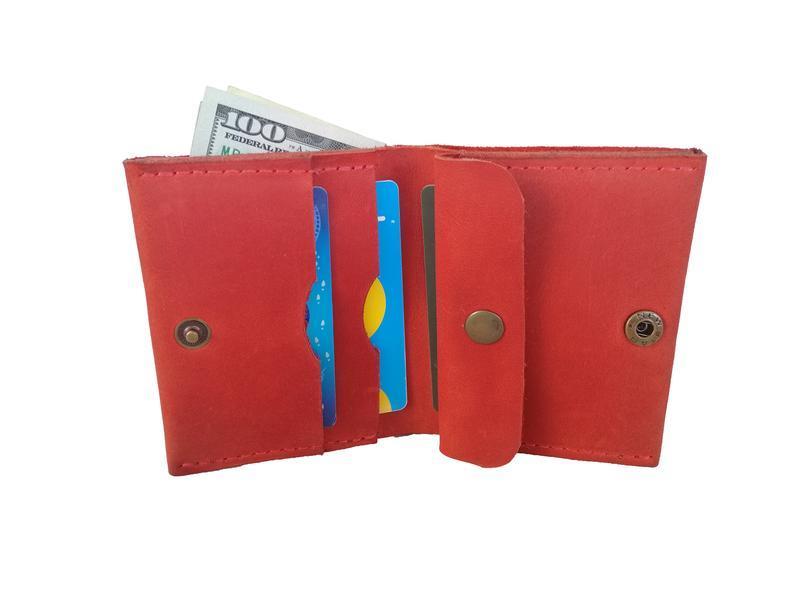 Червоний шкіряний гаманець х5 (10 кольорів)