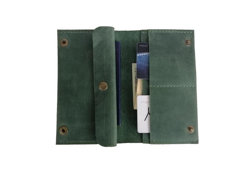 Зелений жіночий гаманець з натуральної шкіри х6 (10 кольорів)