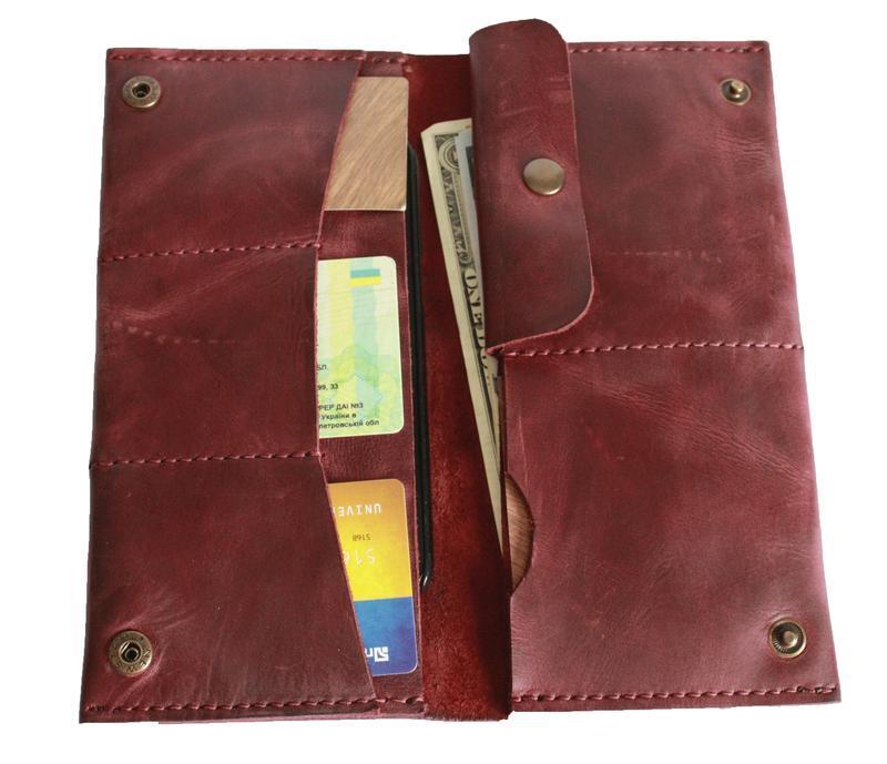 Женский бордовый кожаный бумажник х3 (10 цветов)