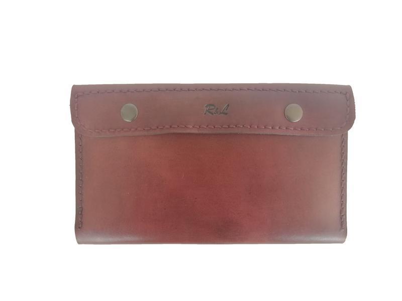 Бумажник для путешествий кожаный цвет махагон рас2 (12 цветов)